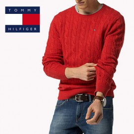 Pull Tommy Hilfiger, mailles torsadées