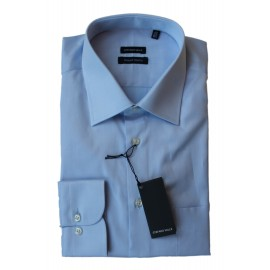 Chemise regular col ville manches longues twill de coton double rotor